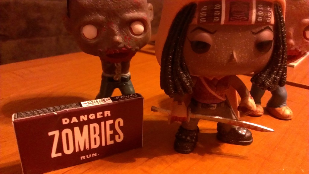 Michonne and some really pricey gum that mentions zombies.