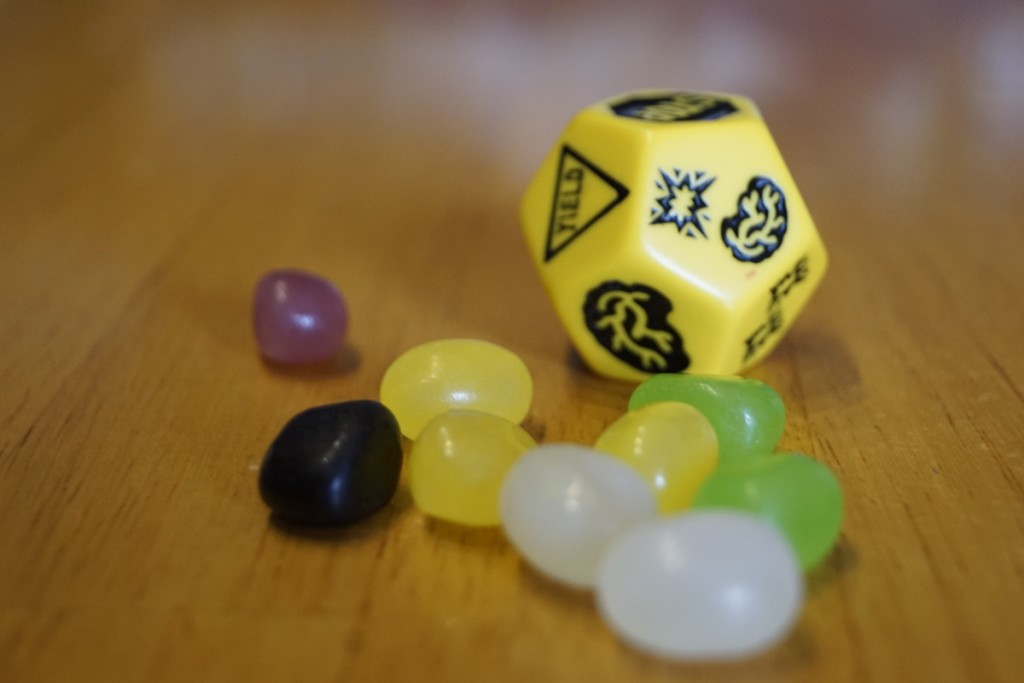 "The disappointing ""School Bus"" die and the jelly beans we used as brain counters."